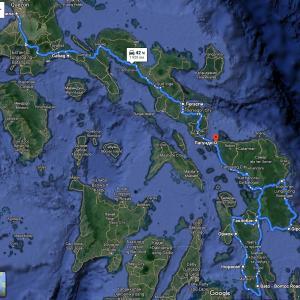 Карта наших переездов. На карте не указаны пешие маршруты на вулканы.